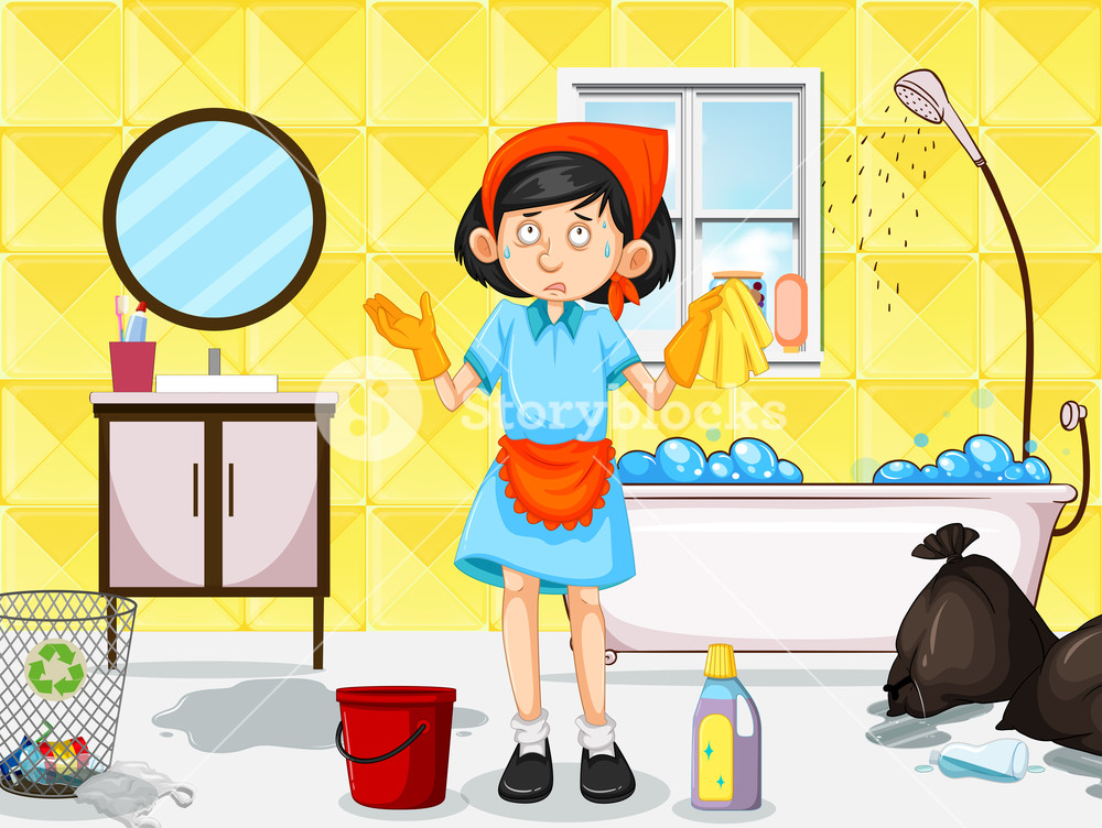 Dirty bathroom clipart vector royalty free A Maid Cleaning Dirty Toilet Royalty-Free Stock Image - Storyblocks ... vector royalty free