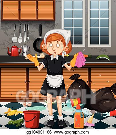 Dirty kitchen clipart clip art transparent download Vector Illustration - A maid cleaning dirty kitchen. EPS Clipart ... clip art transparent download