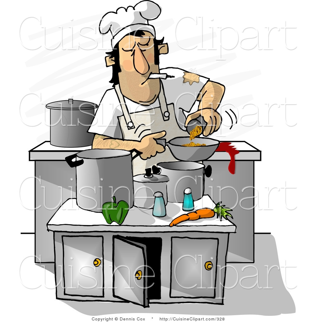 Dirty kitchen clipart graphic library stock Cuisine Clipart of a Dirty Cook Smoking While Cooking in a Kitchen ... graphic library stock