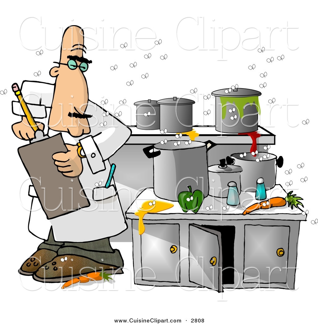 Dirty kitchen clipart image freeuse download Cuisine Clipart of a White Food Health Inspector Inspecting a Dirty ... image freeuse download
