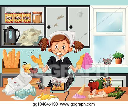 Dirty kitchen clipart picture transparent stock Vector Art - Dirty kitchen scene with housekeeper. EPS clipart ... picture transparent stock