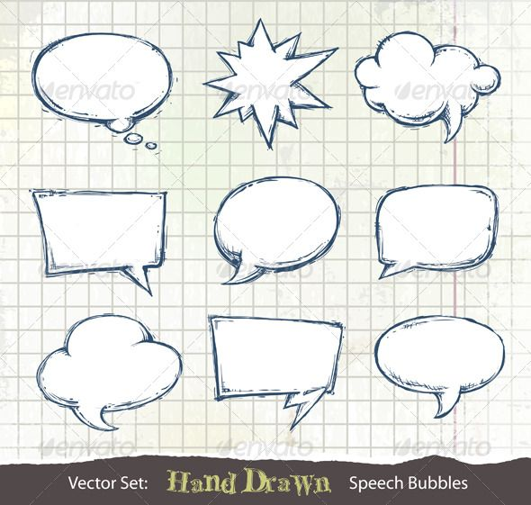 Dirty mangaspeech bubbles cliparts png library stock Set of hand-drawn speech bubbles $3.00 | Future ideas | How to draw ... png library stock