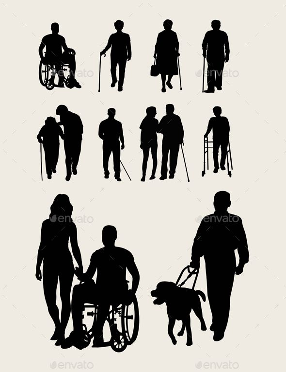 Elderly at home clipart silhouette clip art freeuse stock Disabilities and #Elderly Silhouettes - #Health / #Medicine ... clip art freeuse stock