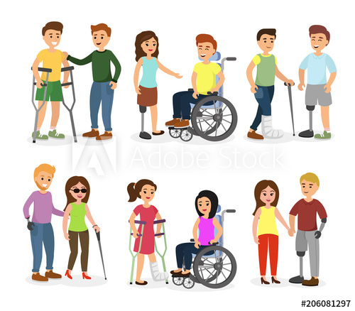 Disabled people walking clipart clip free Vector illustration set of disabled people and friends helping them ... clip free
