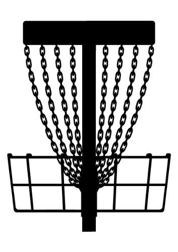 Disc golf basket black and white clipart jpg black and white Discatcher Disc Golf Basket Decal with Detailed Chains - Black jpg black and white