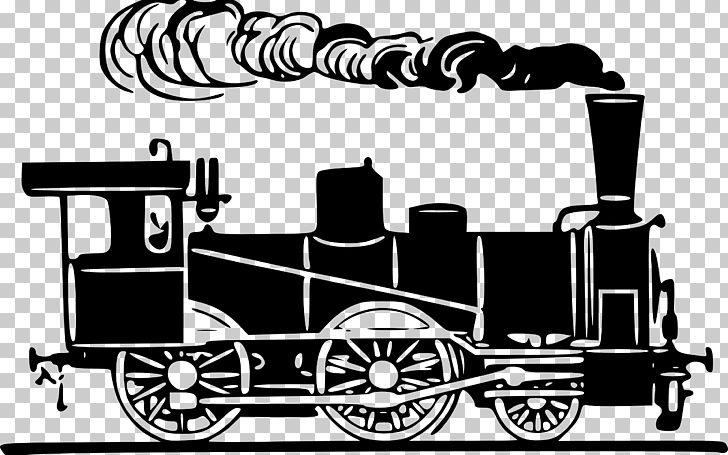 Clipart locomotive image library library Rail Transport Train Steam Locomotive PNG, Clipart, Black And White ... image library library