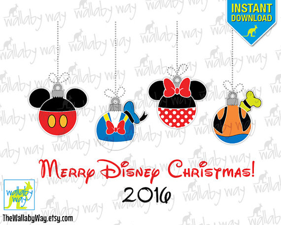 Disney 2016 clipart banner library stock 2016 Disney Christmas Ornaments Printable Iron On Transfer or banner library stock