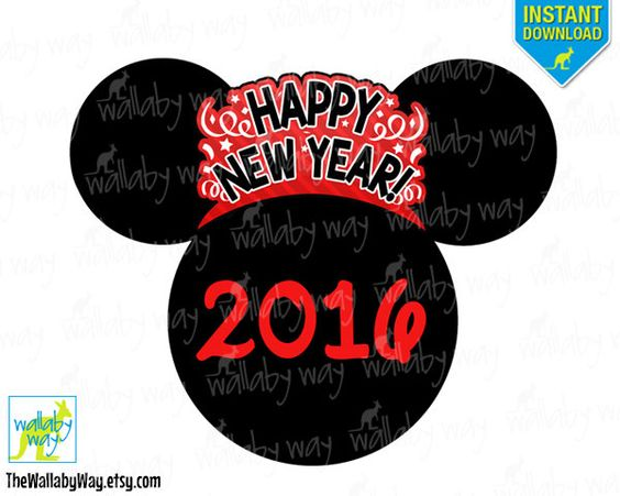 Disney 2016 clipart clip art black and white stock Disney New Years Eve 2016 Printable Iron On Transfer or Use as ... clip art black and white stock