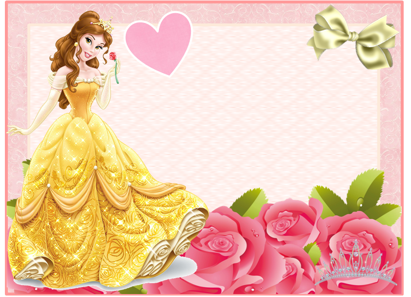 Disney belle background frame clipart. Free printable invitations cards