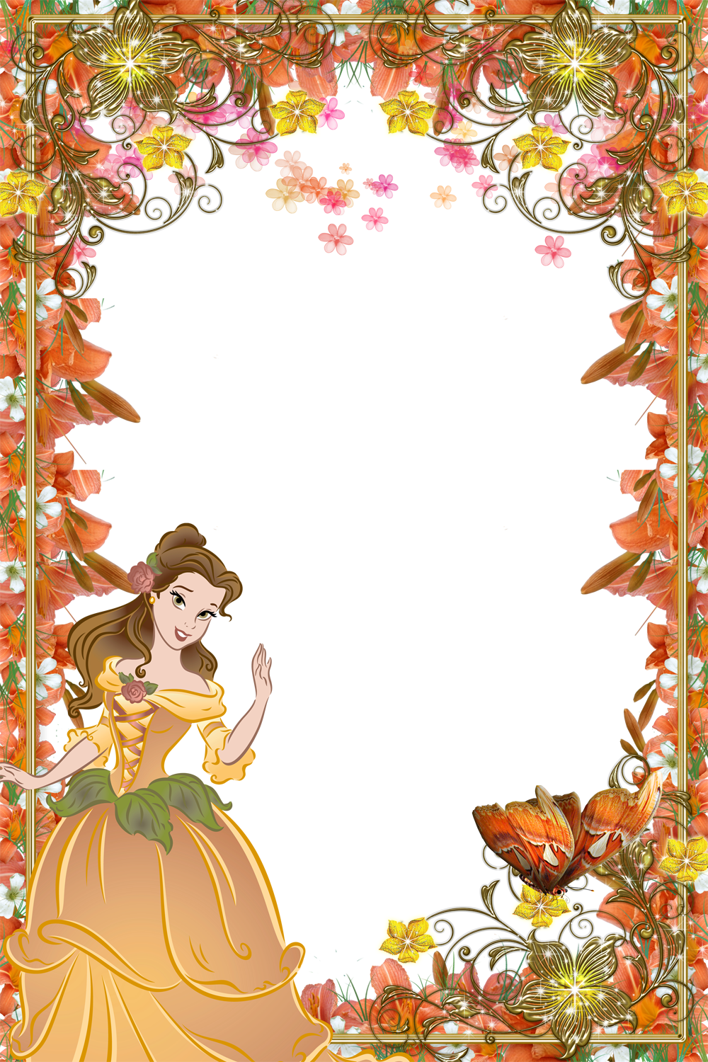 Disney belle frame clipart image royalty free stock Frames with Beauties - Disney Princess Belle | Flowers of Indus Valley image royalty free stock