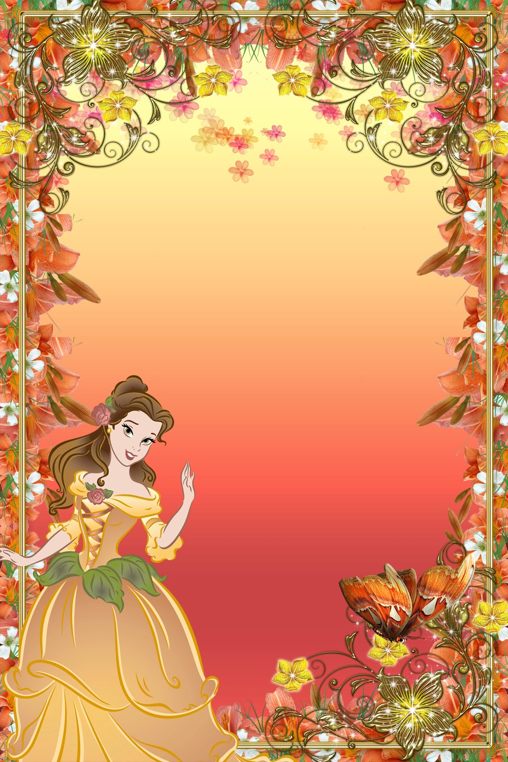 Disney belle frame clipart png transparent download Frames with Beauties - Disney Princess Belle | Flowers of Indus Valley png transparent download