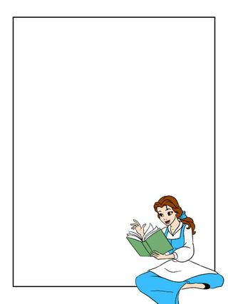 Disney belle sitting clipart image free Journal Card - Belle - blue dress - sitting and reading - 3x4 ... image free