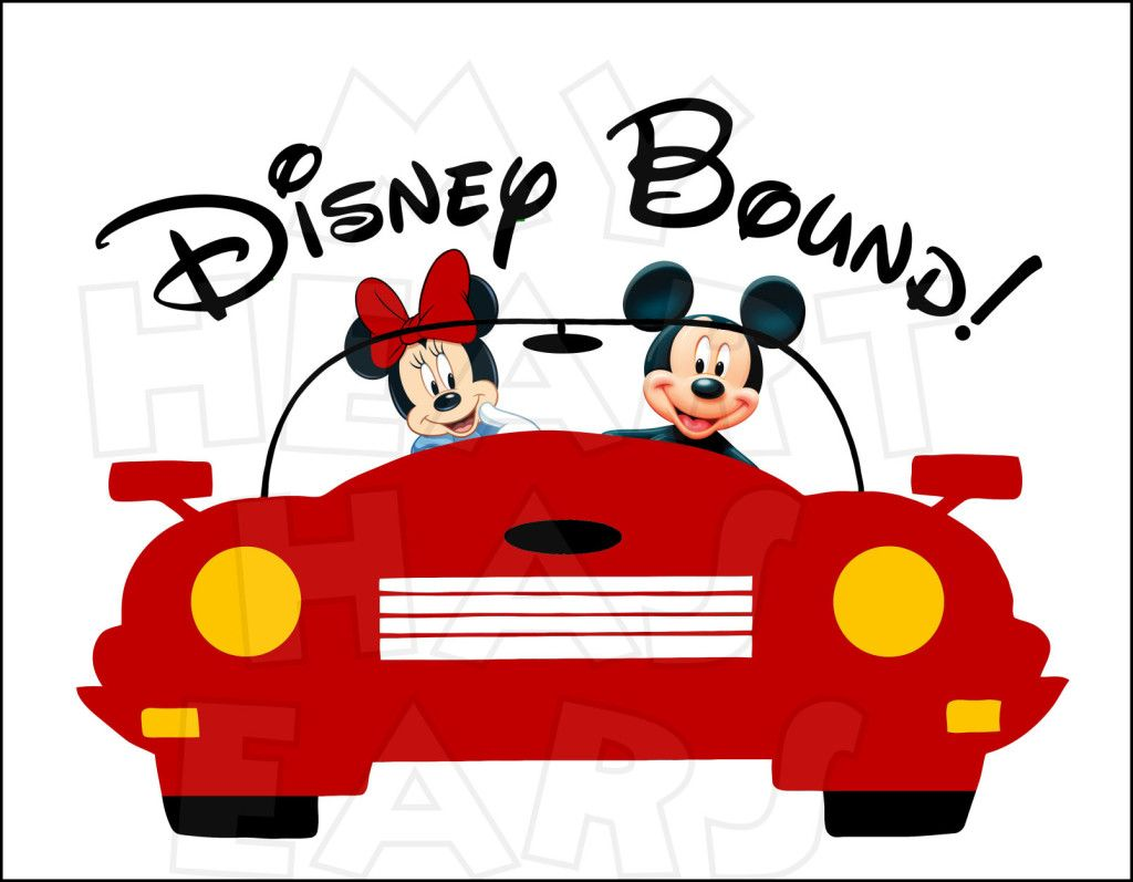Disney bound clipart graphic Disney Bound Mickey and Minnie Mouse in car INSTANT DOWNLOAD digital ... graphic