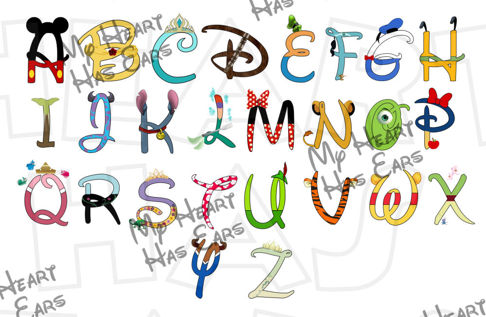 Disney character digital font clipart jpg free library Disney Characters :: My Heart Has Ears jpg free library