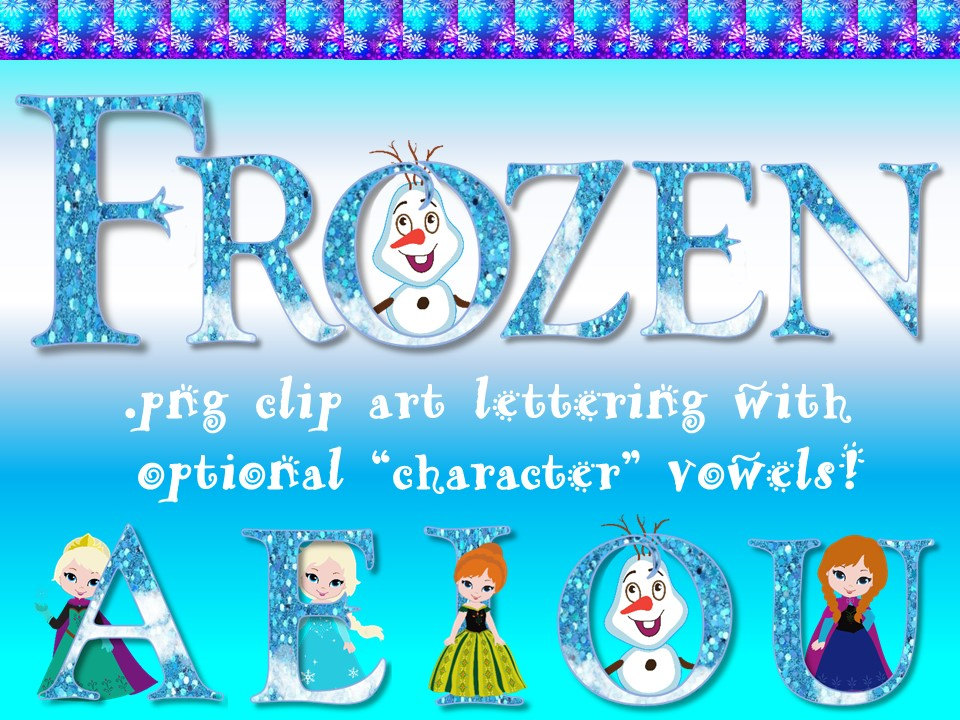 Disney character digital font clipart image black and white FONTS Disney's Frozen Inspired Digital Font Personal & image black and white