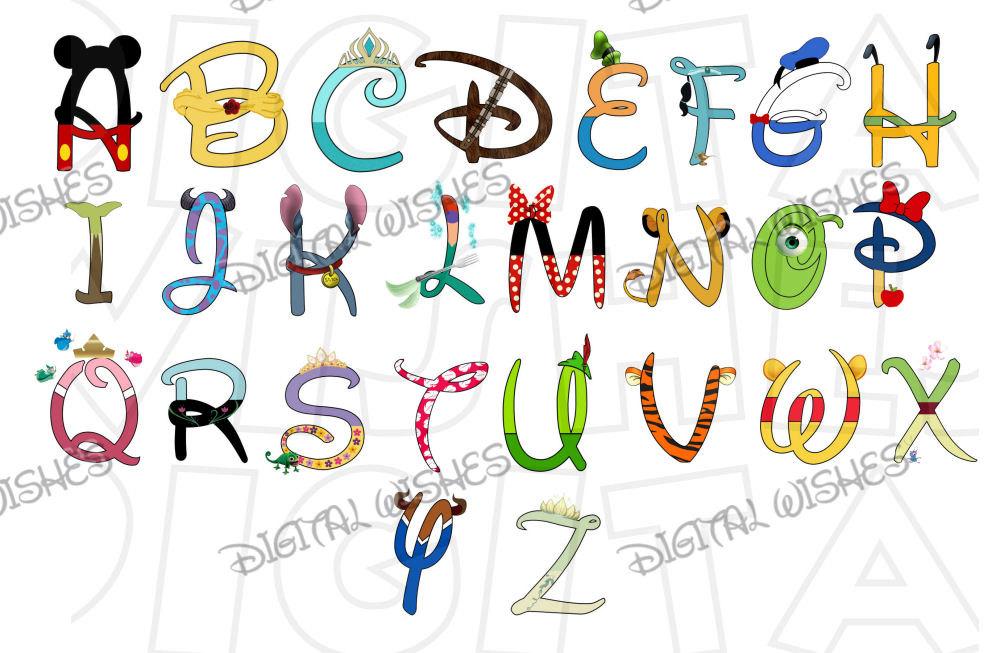 Disney character font clipart png transparent download Alphabet disney font | Etsy png transparent download