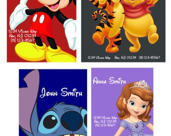 Disney character luggage tags clipart image library Personalized Laminated Luggage Tag Disney by ColeySchmoley image library