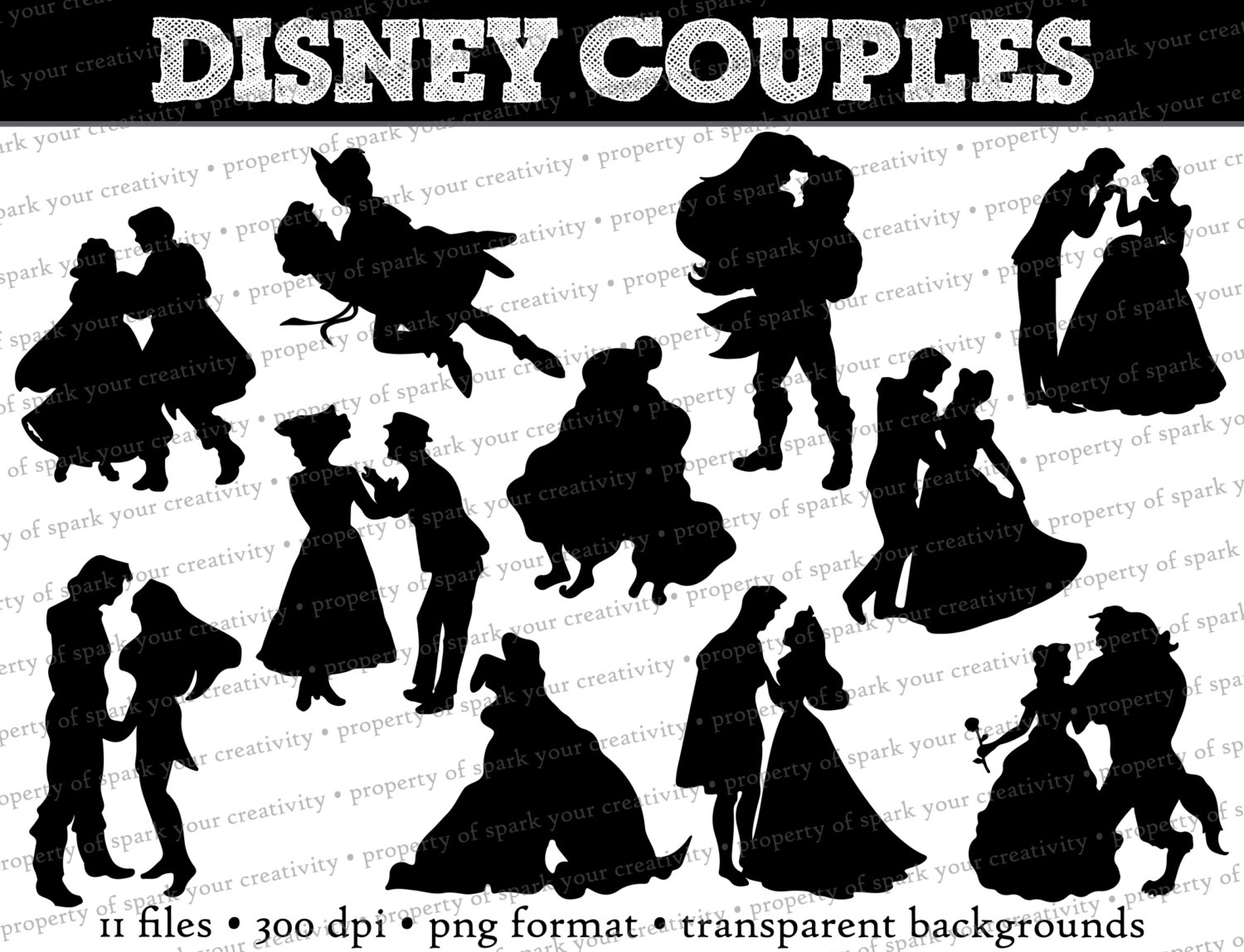 Disney character silhouette clip art jpg black and white stock Disney Couple Silhouette Clipart - Clipart Kid jpg black and white stock