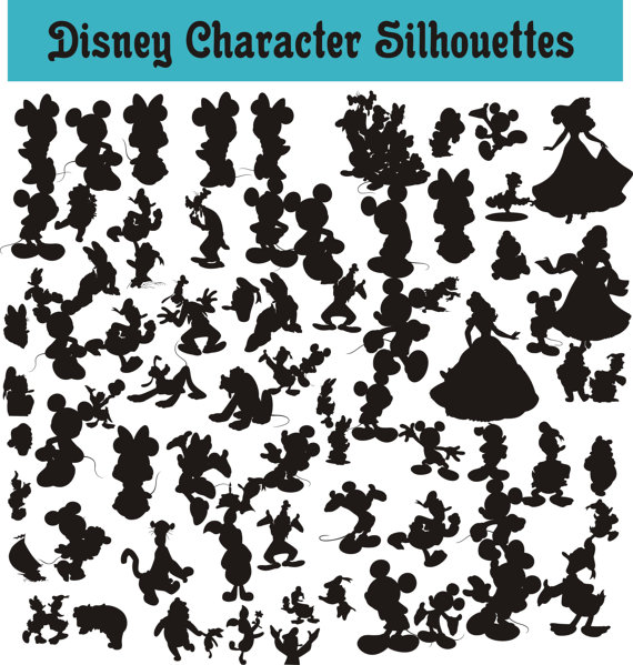 Disney character silhouette clip art clip art black and white library SlavGraphics Collection — Disney Character Body Silhouettes Clip ... clip art black and white library