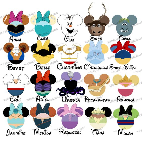 Disney character text digital clipart svg royalty free library CHOOSE YOUR MOUSE HEAD CHARACTERS Disney Family Vacation digital ... svg royalty free library
