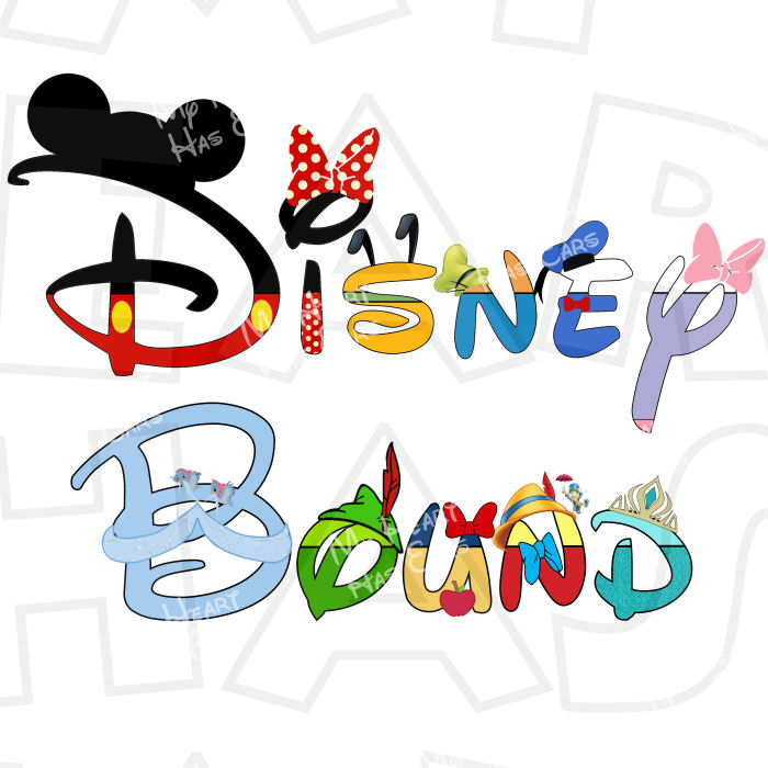Disney character text digital clipart