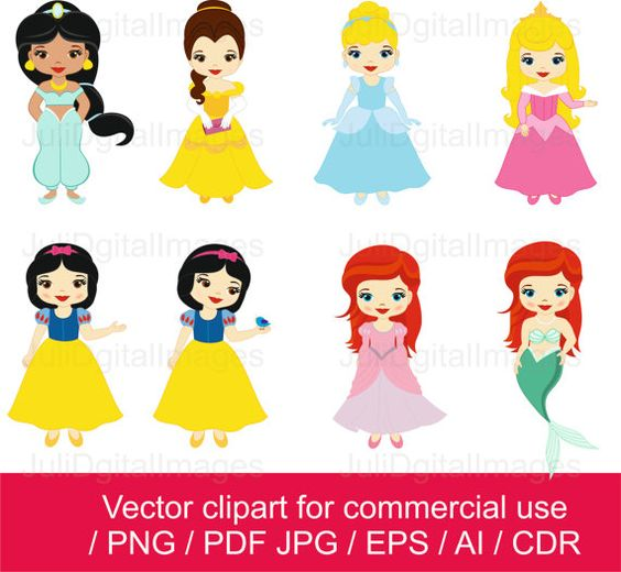 Disney clipart for commercial use vector free download 10-JDI/ Princesses clipart / Little Princess clipart / Princess ... vector free download