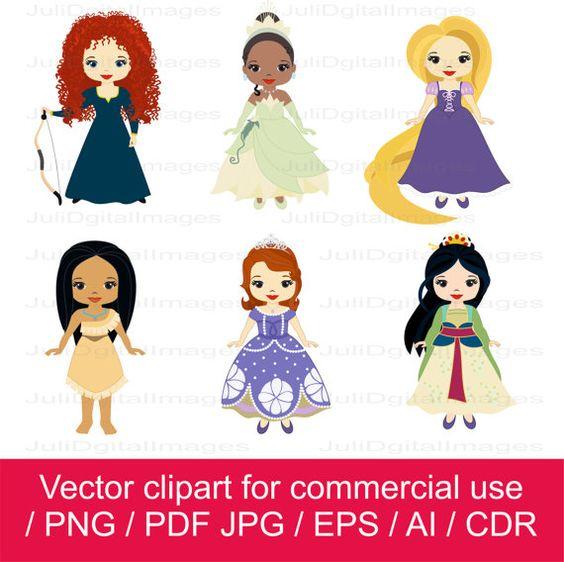 Disney clipart for commercial use jpg freeuse Princesses clipart / little princess clipart / princess vector ... jpg freeuse