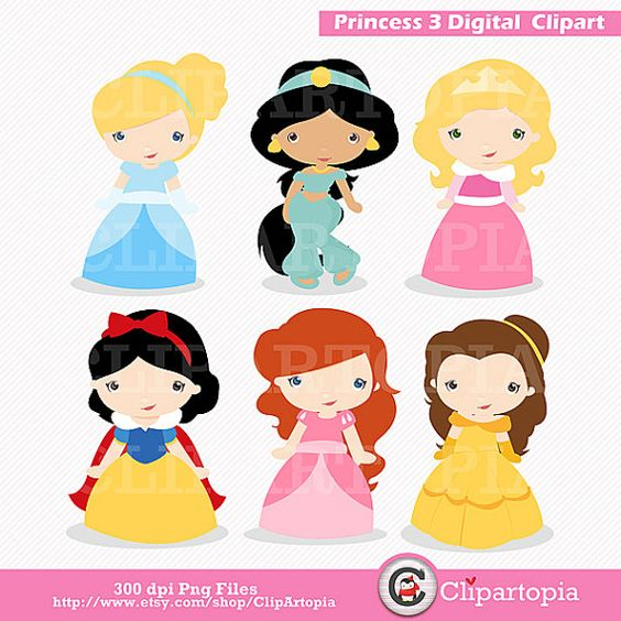 Disney clipart for commercial use graphic black and white library Princess 3 Digital Clipart / Cute Princess Clip Art / Fairytale ... graphic black and white library