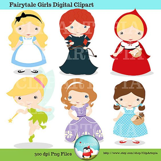 Disney clipart for commercial use clipart library library Fairytale Girls Digital Clipart / Cute Fairytale Princess Digital ... clipart library library