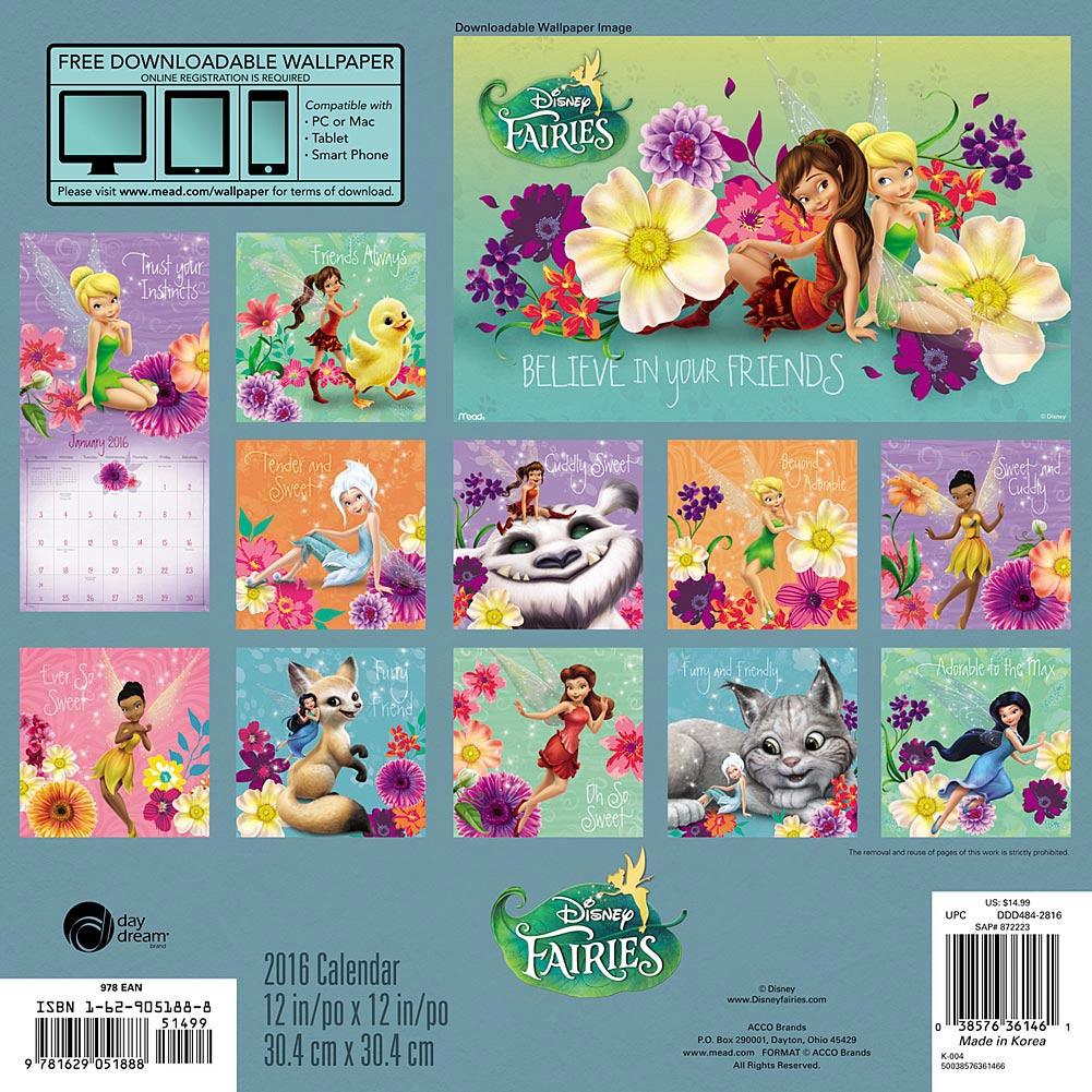 Disney clipart september calendar 2016 graphic Disney Fairies 2016 Wall Calendar: 9781629051888     Calendars.com graphic