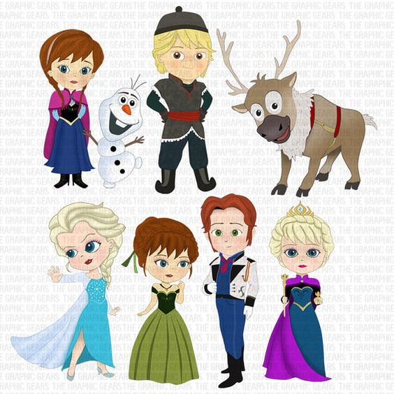 Disney frozen clipart character images png royalty free stock Frozen Clip Art Set Frozen inspired Characters Clipart - Elsa ... png royalty free stock