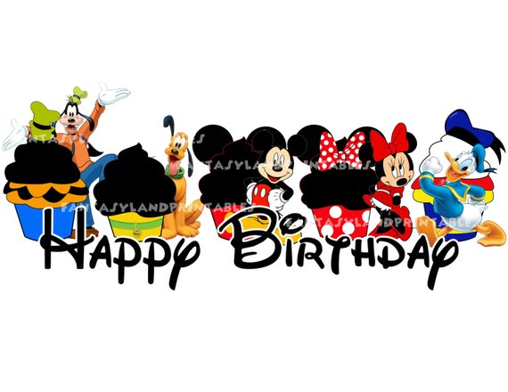 Disney happy birthday clipart jpg freeuse library Cupcakes Fab Five Instant Download Happy Birthday DIY you print ... jpg freeuse library