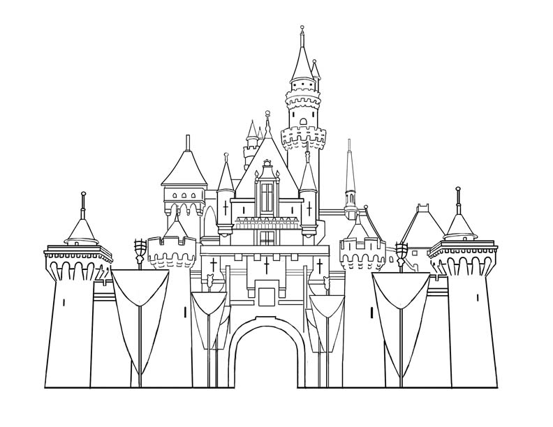 Disney kingdom clipart simple clipart black and white stock Simple disney outline clipart - ClipartFest clipart black and white stock