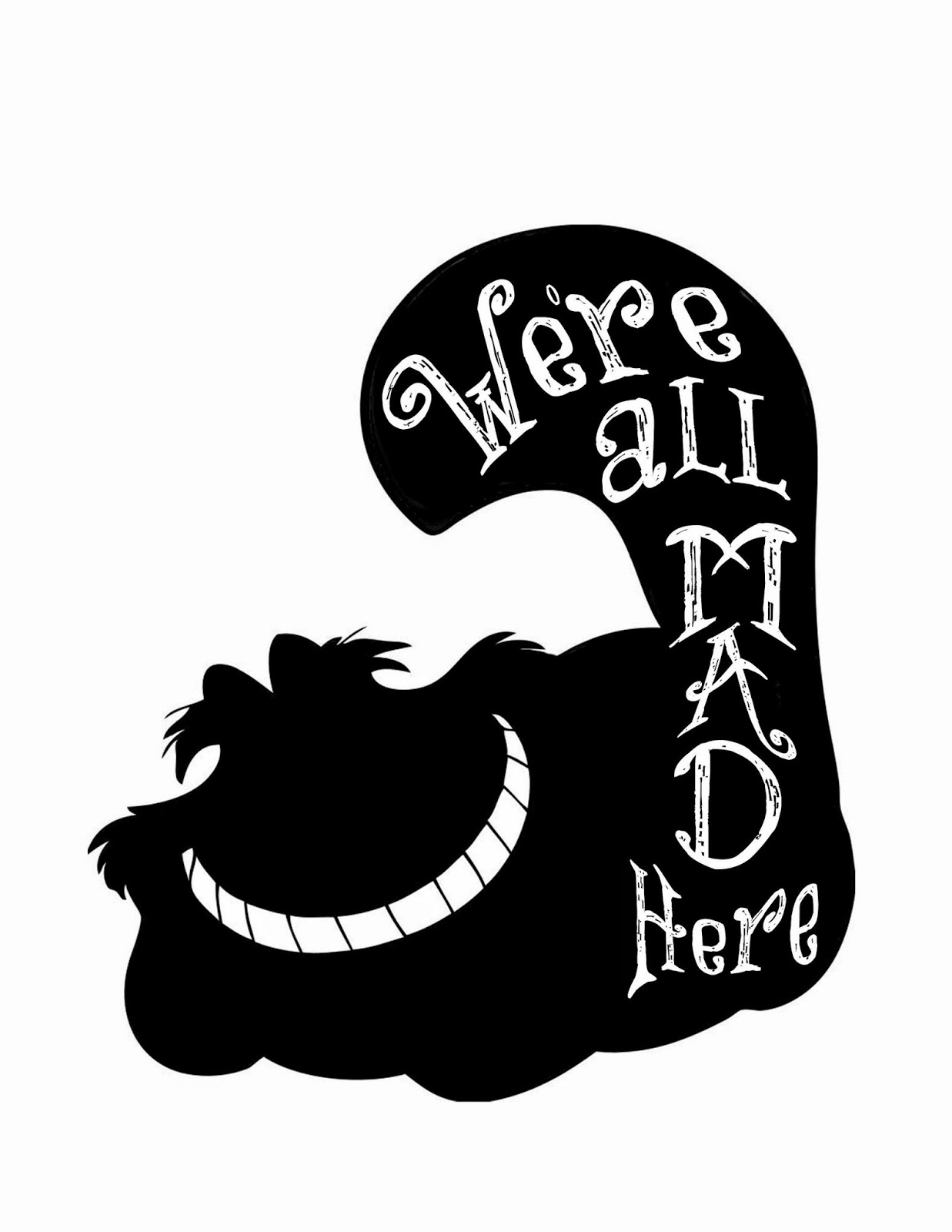 Disney mad hatter black and white clipart. Alice in wonderland silhouette