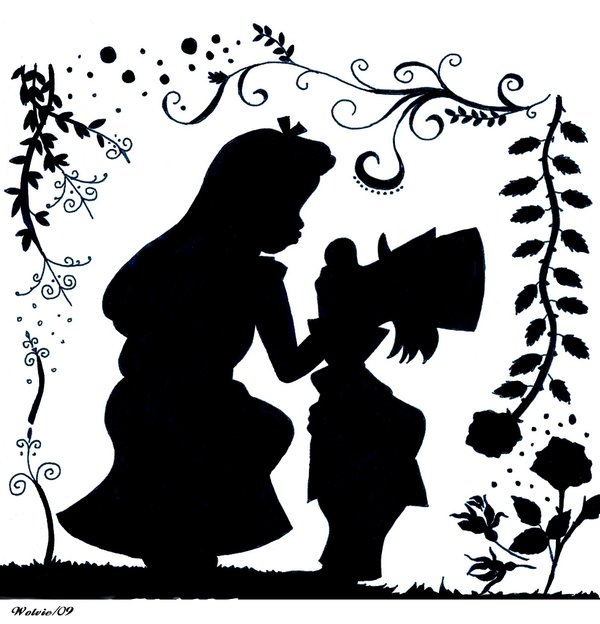 Silhouette alice in wonderland. Disney mad hatter black and white clipart