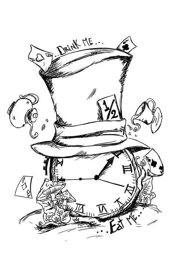 Disney mad hatter black and white clipart.  ideas about tattoo