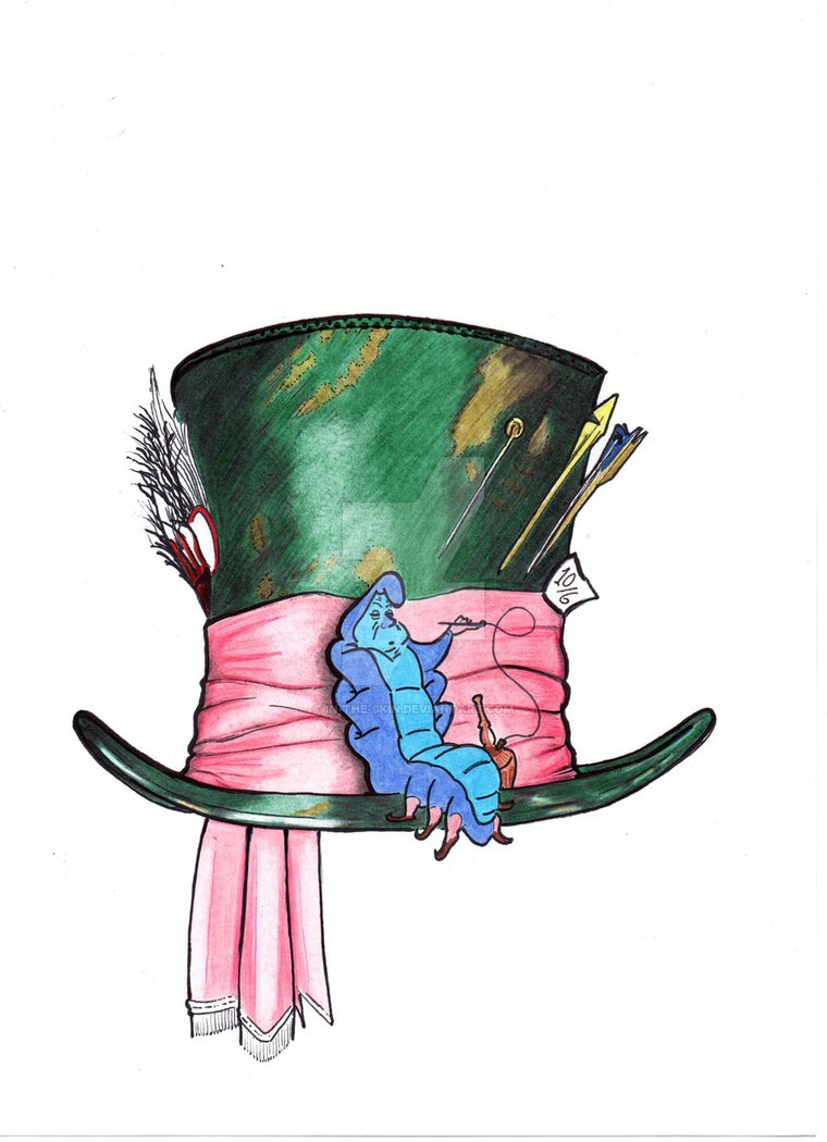 Disney mad hatter hat clipart png black and white library Mad Hatter and Caterpillar Tattoo by In-The-Skin on DeviantArt png black and white library