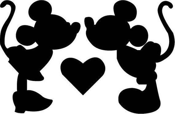 Disney minnie and mickey kiss valentines clipart image Disney Minnie Mickey Kiss SVG Design for Silhouette Studio, Cut ... image