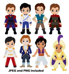 Disney princes clipart banner library Prince and princess clip art 12png300dpi for commercial and ... banner library