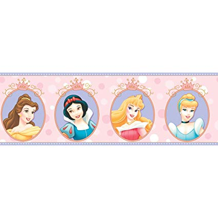Disney princess clipart borders clip art royalty free library Imperial Disney Home DF059301B Princess Cameo Border, Pink, 6.83-Inch Wide clip art royalty free library