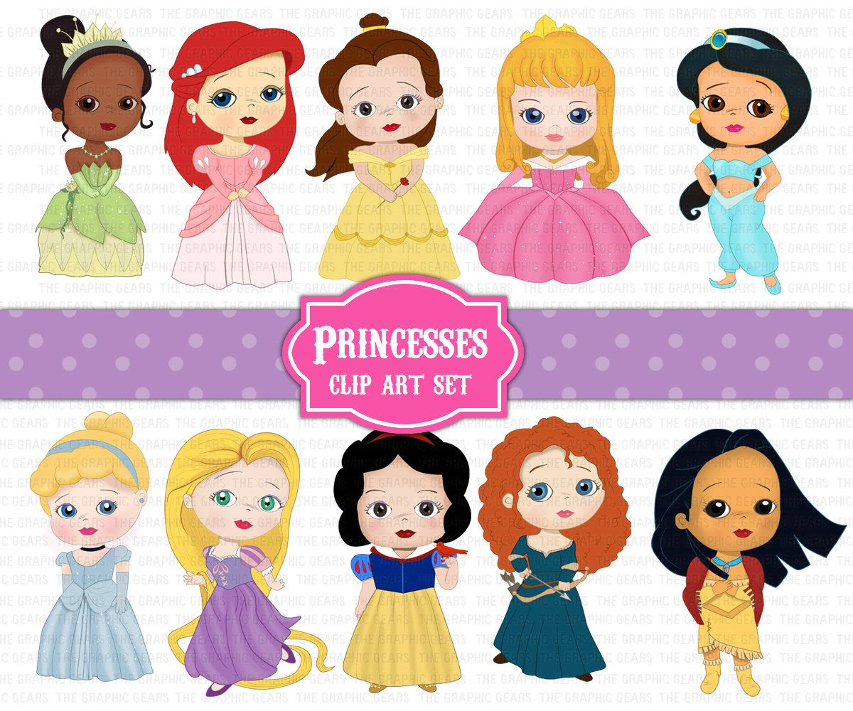 Disney princess pictures clipart image black and white download Princess Clip Art Set Disney Princesses Clipart By Graphicgears ... image black and white download