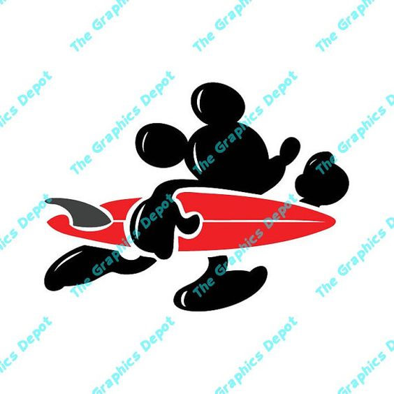 Disney surfboard clipart clip art black and white stock Mickey Mouse - Surf Mickey - Surfboard - svg, pdf, eps, ai files ... clip art black and white stock
