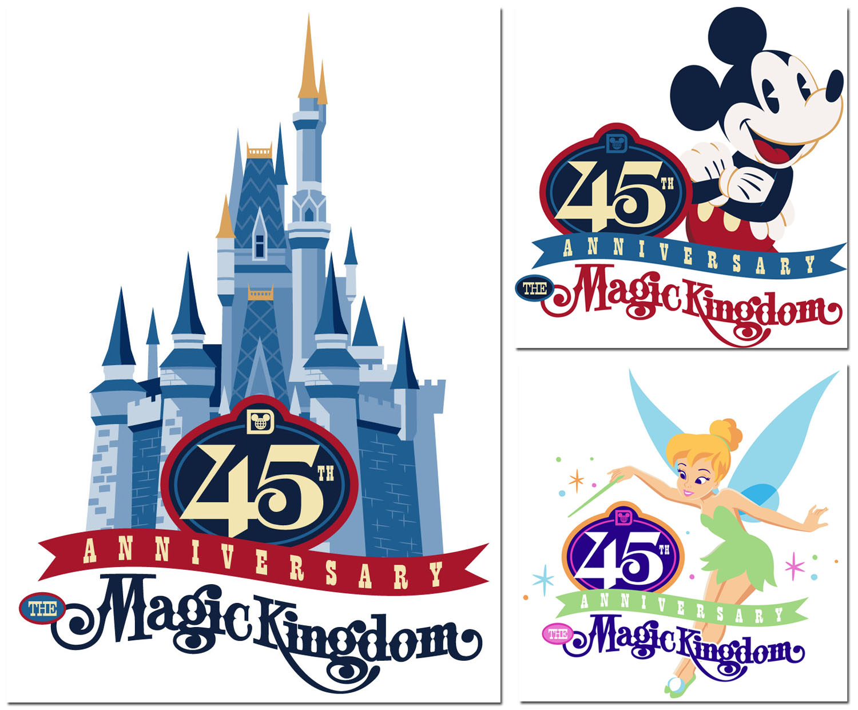 Disney world magic kingdom clipart clipart freeuse stock First Look at Magic Kingdom 45th Anniversary Merchandise Artwork ... clipart freeuse stock