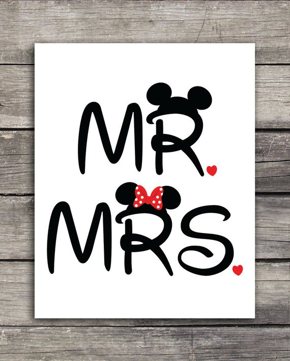 Disneymoon clipart clipart library Mr. and Mrs. Mickey and Minnie Wedding Graphics-Use to print on ... clipart library