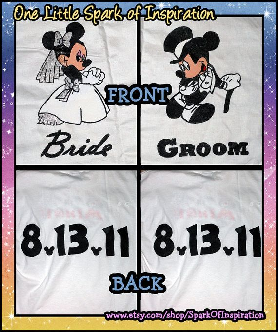 Disneymoon clipart royalty free library His & Hers Mickey and Minnie Wedding Bride and Groom Disneymoon ... royalty free library