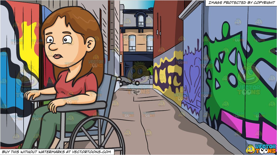Disoriented clipart graphic freeuse stock A Disoriented Woman In A Wheelchair and Graffiti Alley Background graphic freeuse stock