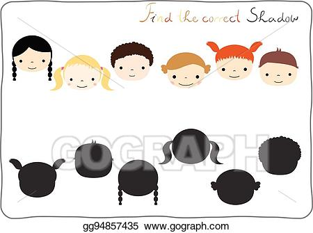 Distinguish clipart image stock EPS Vector - Find the correct shadow - matching game for children ... image stock