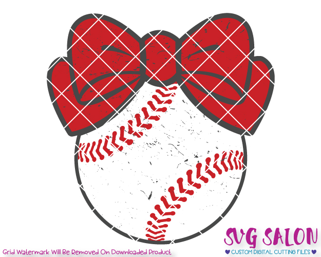 Distressedbaseball clipart picture free Baseball Bow Distressed Cut File Set in SVG, EPS, DXF, JPEG, and PNG picture free