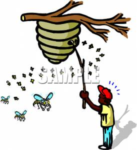 Disturbing clipart image free library A Cartoon of an Ethnic Boy Disturbing a Beehive with a Stick ... image free library