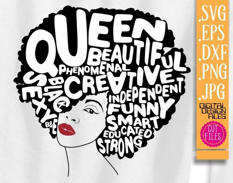 Diva boss clipart black and white jpg black and white library Black Queen with words svg, Red Lips, Black woman svg,Creative ... jpg black and white library
